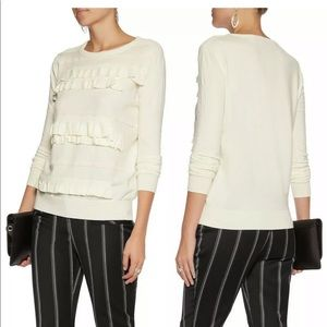DVF Ruffle Benni Merin Wool Blend Sweater Pullover